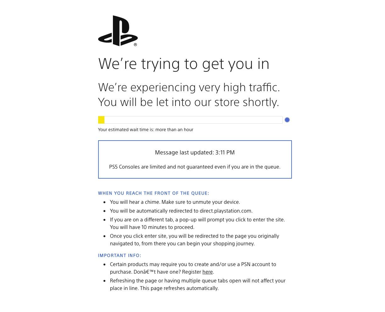 Reabastecimiento de Sony Direct PS5