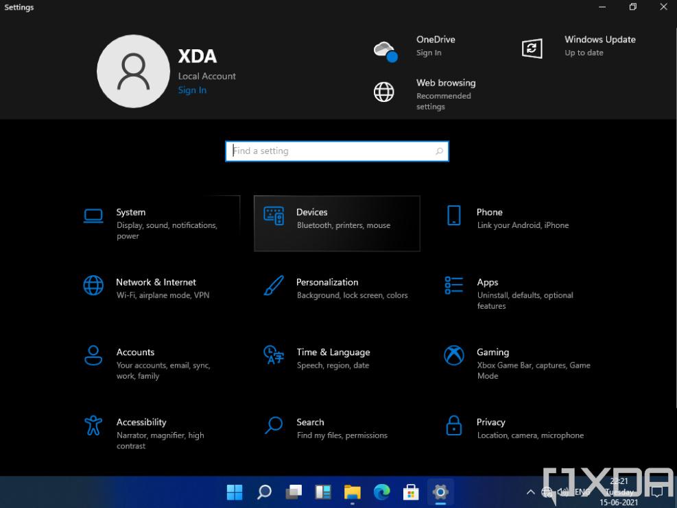 Página de configuración del modo oscuro de Windows 11