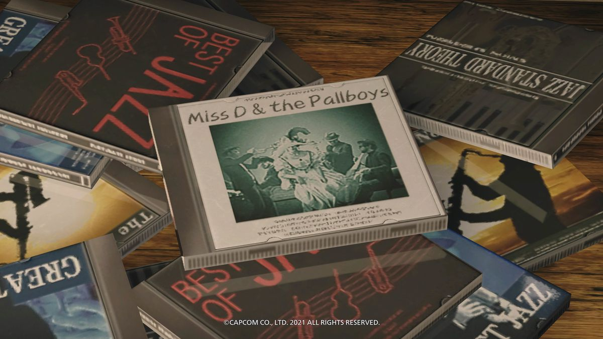Captura de pantalla de diferentes CD de la colección Ethan Winters de Resident Evil Village