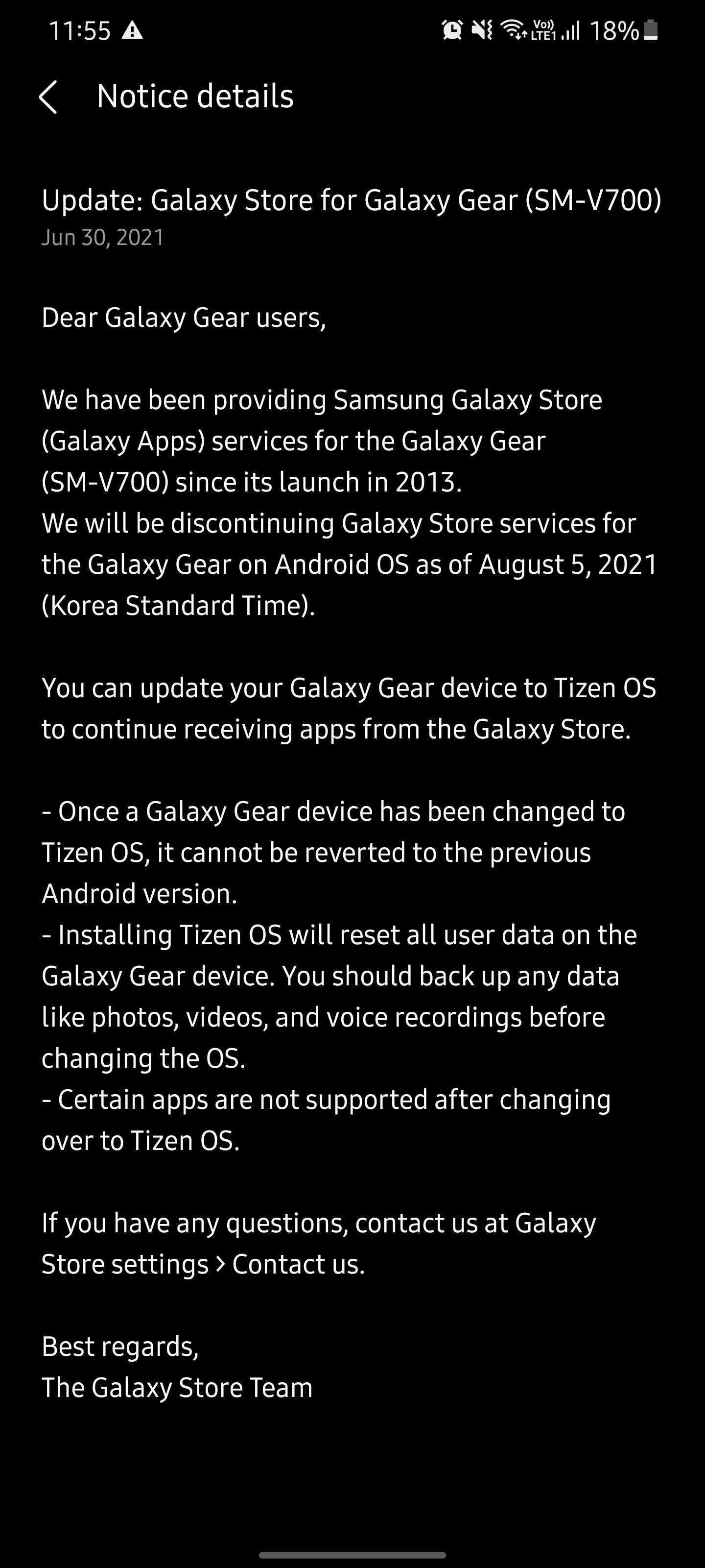 Asistencia de la aplicación Samsung Galaxy Gear