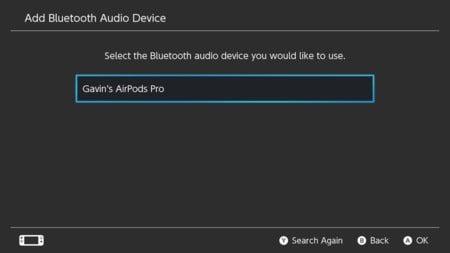 3. Nintendo Switch Selecciona un dispositivo de audio Bluetooth