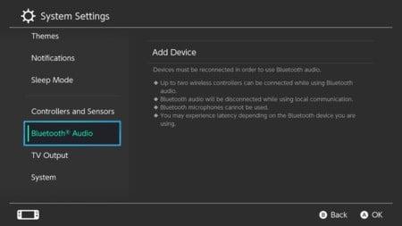1. Audio Bluetooth de Nintendo Switch